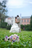 Wedding bouquet on the grass Stock Photos
