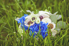 Wedding bouquet on the grass Stock Image