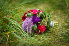 Wedding bouquet in the grass Stock Photography