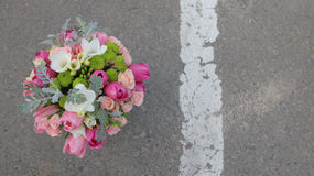 Wedding bouquet on the gray background Royalty Free Stock Image