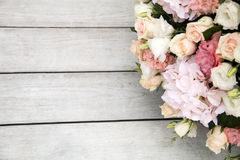 Wedding bouquet on gray tree background. Wedding bouquet of roses on a gray tree background Stock Images