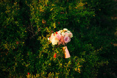 Wedding bouquet on a green background Stock Photography