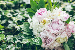 Wedding bouquet on green grass Stock Image
