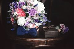 Wedding bouquet and groom& x27;s accessories Royalty Free Stock Images