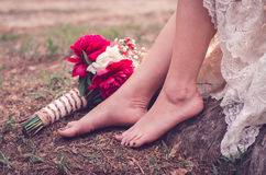 Wedding bouquet on the ground Royalty Free Stock Photo