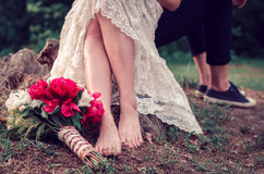 Wedding bouquet on the ground Stock Image