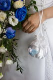 Wedding bouquet and hand. Wedding bouquet flowers and hand stock photography