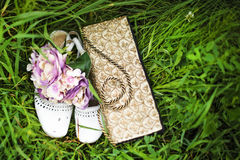 Wedding bouquet, handbag and shoes with ants Royalty Free Stock Images