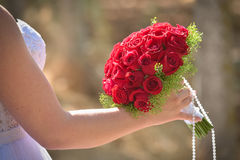Wedding bouquet in hands of the bride. Beautiful bouquet of red roses in the hands of the bride in a white dress stock photos