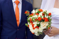 Wedding bouquet in hands of the bride, the combination of colors. Wedding bouquet in hands of the bride Royalty Free Stock Images