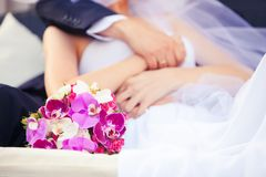 Wedding. Bouquet in hands of the bride and groom Stock Image
