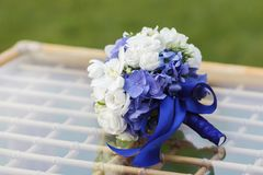 Wedding bouquet of hydrangea, eucharis and eustoma Royalty Free Stock Photography
