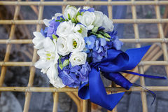 Wedding bouquet of hydrangea, eucharis and eustoma Stock Images