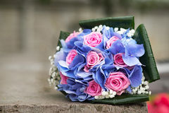 Wedding bouquet with hydrangea and pink roses. Outdoor Royalty Free Stock Photo