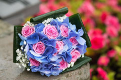 Wedding bouquet with hydrangea and pink roses. Outdoor Royalty Free Stock Images
