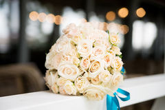 Wedding bouquet with ivory, beige roses Royalty Free Stock Image