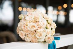 Wedding bouquet with ivory, beige roses Royalty Free Stock Photography