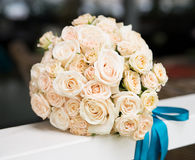 Wedding bouquet with ivory, beige roses Stock Photos