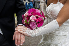 Wedding Bouquet and lace gloves Royalty Free Stock Photos