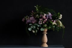 Wedding bouquet with lilac. Cute wedding bouquet with lilac and other spring flowers made by florist Royalty Free Stock Photography