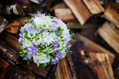 Wedding bouquet. On logs birch Royalty Free Stock Image