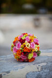 Wedding bouquet. Lying on a rock Stock Photography