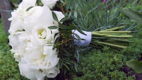 Wedding bouquet made of white roses  on a white background.  Stock Photo