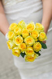 Wedding bouquet with many yellow roses Royalty Free Stock Images
