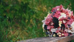 Wedding bouquet on the nature stock footage