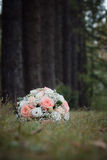 Wedding bouquet on the nature of the trees. Wedding Royalty Free Stock Images