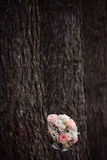 Wedding bouquet on the nature of the trees. Wedding Stock Photo