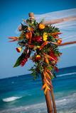 Wedding bouquet by ocean Stock Photos