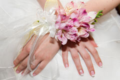 Wedding bouquet of orchids and roses in hand Stock Photos