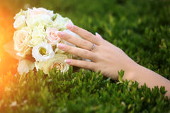 Wedding bouquet outdoor Stock Image