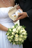 Wedding bouquet and padlocks Stock Photo