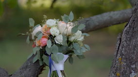 Wedding bouquet in the Park stock video