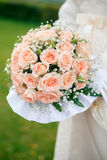 Wedding bouquet from peach-colored roses. On green background Royalty Free Stock Photos