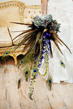 Wedding Bouquet with peacock feathers Stock Images