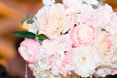 Wedding bouquet of peonies. Beautiful wedding bouquet of roses and peonies Royalty Free Stock Photo
