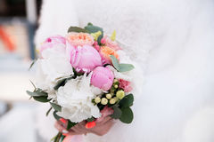 Wedding bouquet with peonies. Pink and white flowers Royalty Free Stock Images