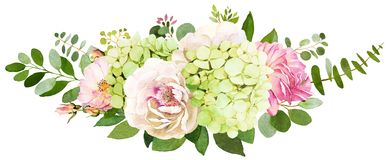Free Wedding Bouquet. Peony, Hydrangea And Rose Flowers Watercolor Il Stock Photography - 110943312