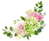 Wedding bouquet. Peony, Hydrangea and rose flowers. Watercolor illustrations stock illustration
