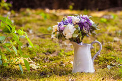 Wedding bouquet with peony and hydrangea in vase Royalty Free Stock Images