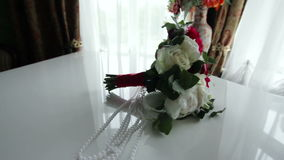 Wedding bouquet on the piano stock footage