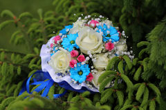 Wedding bouquet on pine branch Stock Images