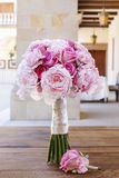 Wedding bouquet with pink peonies, carnations and roses Stock Images