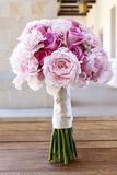 Wedding bouquet with pink peonies, roses and carnations Royalty Free Stock Image