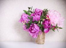Wedding bouquet of a pink peonies Royalty Free Stock Images