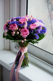 Wedding bouquet in pink and purple tones. Beautiful and delicate.General view Royalty Free Stock Photo