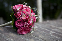 Wedding bouquet with pink roses Stock Photos
